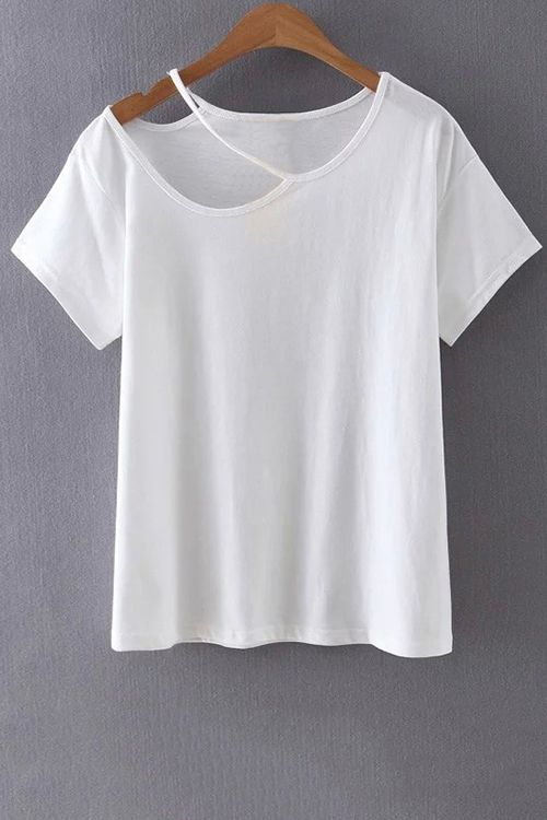 Cut Out Round Collar Short Sleeve T-Shirt