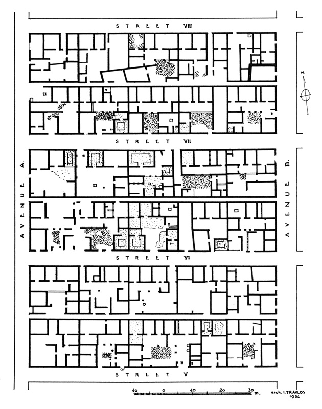 Plan of several street blocks at Olynthos. Dated to the late 5th century B.C.    SOURCE: William R. Biers. 1996. he Archaeology of Greece: An Introduction. Ithaca: Cornell University Press: fig. 8.18.