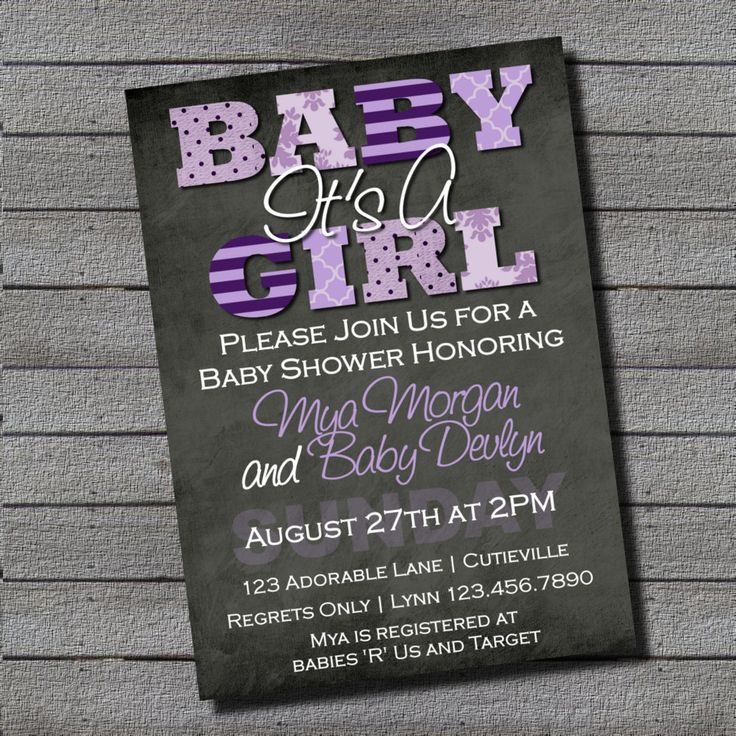 modern itu0027s a girl purple and gray baby shower invitation digital file or add 5x7 prints front and back