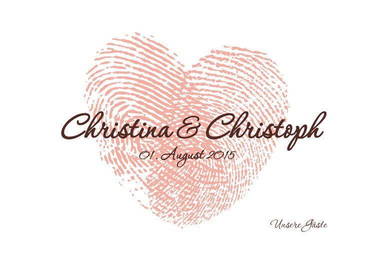 """Designbeispiel... eine meiner Kreationen an individualisierten Hochzeitsgästebüchern für DaWanda für die Hochzeit von Christina & Christoph; Motto """"Apricot"""""""