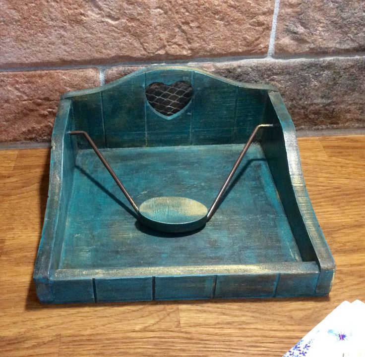 Napkin holder, serviette box, napkin tray with weight, hand painted wood, distressed effect, kitchen decor