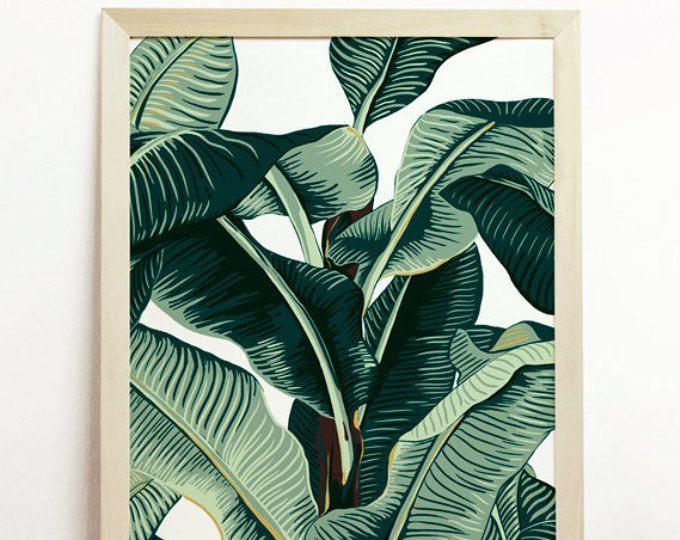 Banana Leaf stampa tropicale Poster Art Affiche natura spiaggia palma lascia giungla verde illustrazione botanica delle Cayos pianta originale Hawaii