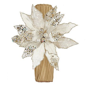 Our decorative Poinsettia Napkin Rings are decorated in glitter and sparkling beads.  Set of 4  $40.00  #ZGallerie  #Napkinrings