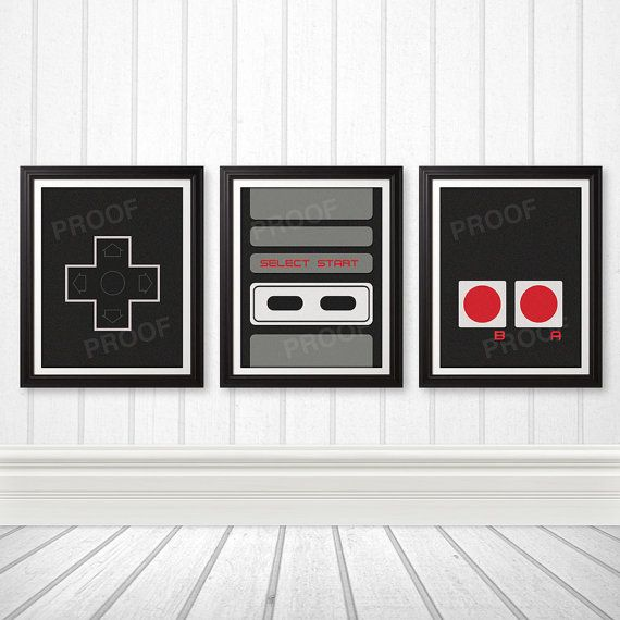 This original 11x14 Nintendo inspired print set would look great in any home or apartment. Hang all 3 prints together to create a controller on