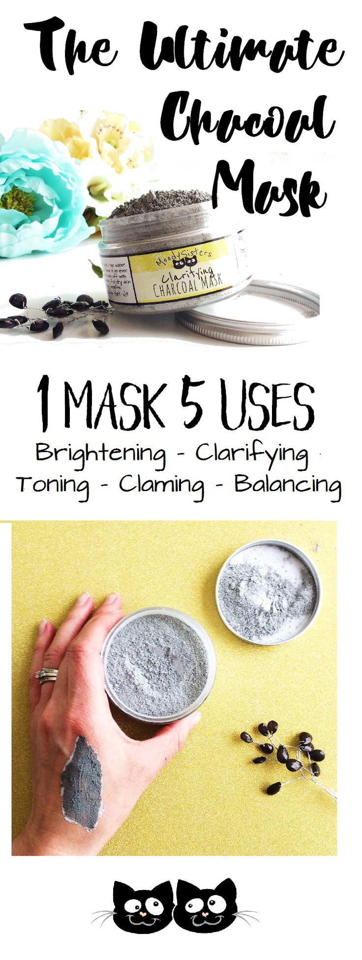 One mask. 5 Uses. Combine it with any liquid to customize it's clarifying power for your skin type and need.  ake charge of your moody skin with this multi-use charcoal mask perfect for any skin type. You can clarify, nourish and detoxify in one simple step when you mix with water OR for even more benefits, you can use your mask with other skin loving ingredients for an extra boost.  #beauty #mask #charcoal http://www.moodysisters.com/store/charcoal
