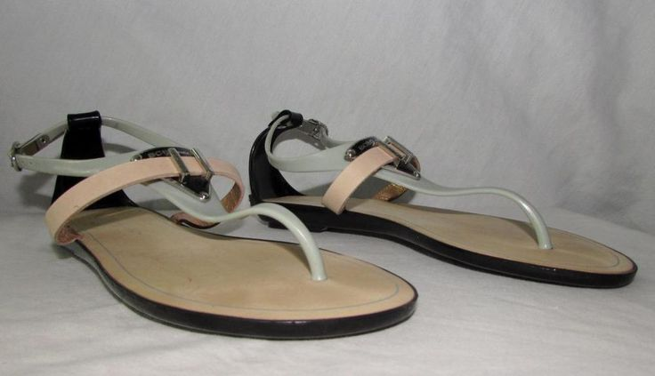 BCDGenerations Low Heel Thong Sandals Adjustable Ankle T Strap sz 6 B (Medium)…