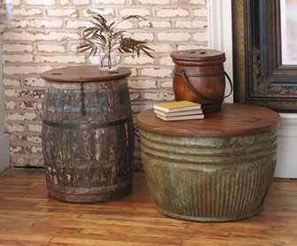 vintage barrel | Vintage Grain Barrel CoffeeTables - NapaStyle