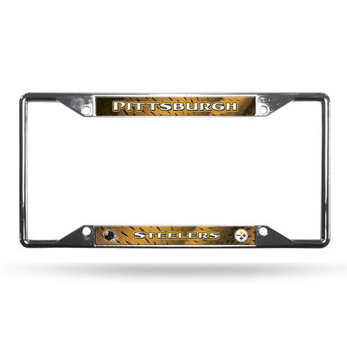 Pittsburgh Steelers License Plate Frame Chrome EZ View