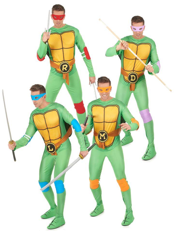 Disfraz grupo Tortugas Ninja™ adulto: Este disfraz de grupo para adulto tiene licencia oficial de Tortugas Ninja™. Incluye 4 disfraces para adulto de Tortugas Ninja.Cada disfraz incluye traje, carapazón, antifaz, coderas y...