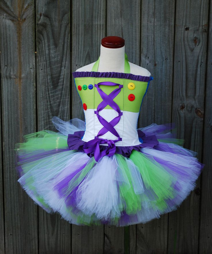 Custom Toy Buzz story inspired tutu dress corset set made to fit your daughter in a size 12 months through 5T.  Larger sizes available. $89.00, via Etsy.