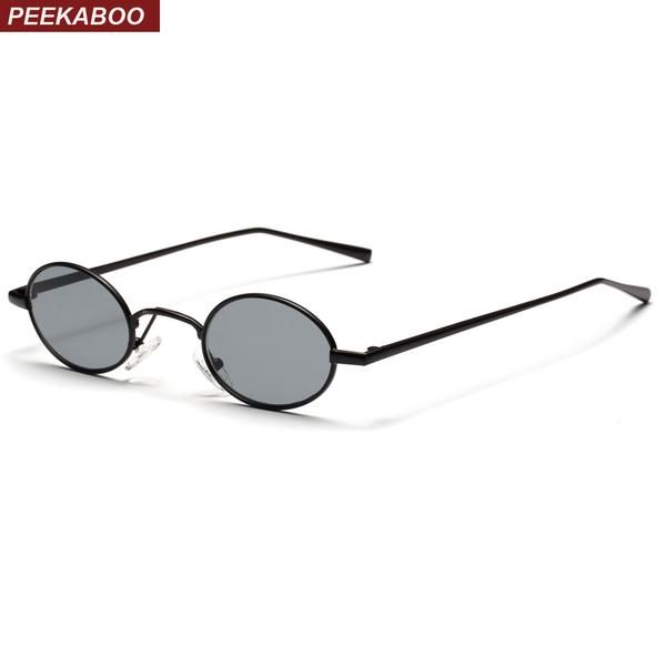 c59bce9bb4181  FASHION  NEW Peekaboo black small oval sunglasses women retro 2018 metal  frame yellow red lens round vintage sun glasses for men uv400