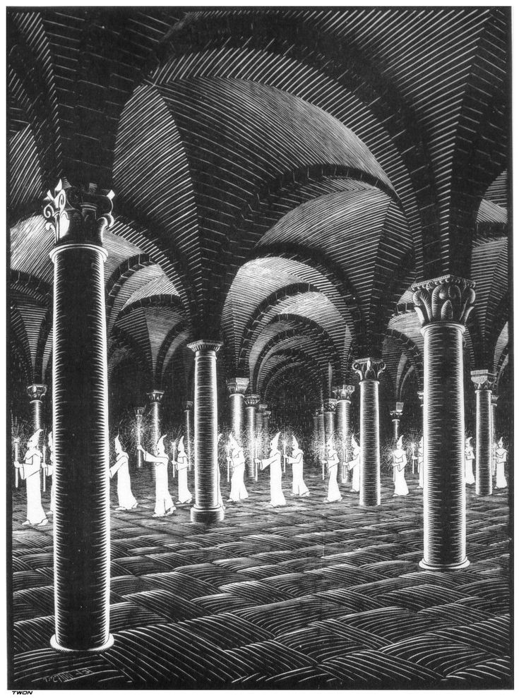 M.C. Escher - Procession in the Crypt, 1925. WikiPaintings.org