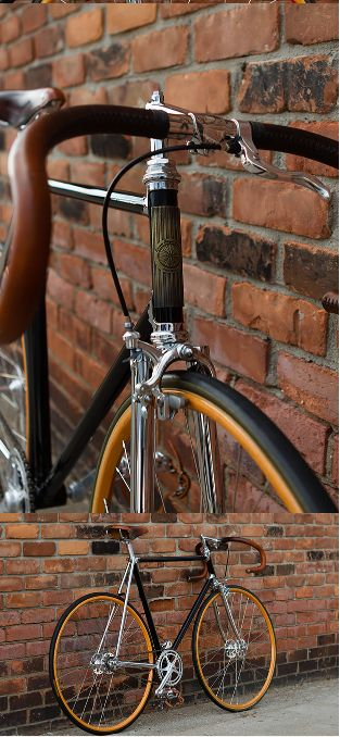 Detroit Bicycle Company Track, This model especially, built up with Curtis Odom hubs, a 1950′s Cinelli #1 stem, Walnut Studiolo aged bar wrap, wooden Ghisallo rims and vintage Campagnolo cranks, pedals and brake calliper. ,