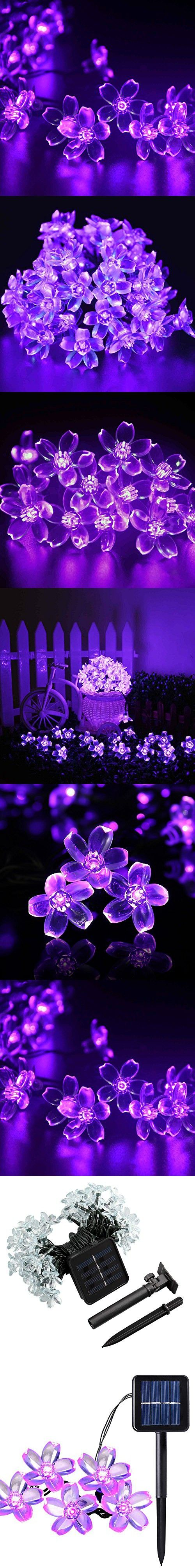 Qedertek Solar String Lights, 23Ft Outdoor Waterproof 50 LED Cherry Flowers Fairy Lighting Decorations for Christmas, Patio, Lawn, Fence, Garden, Holiday (Purple)