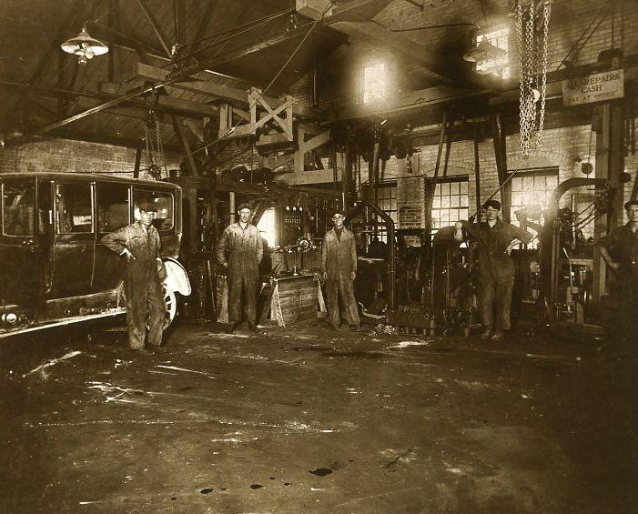 Vintage Automobile Repair Shop Auto Garage Interior Mechanics Hoists Car Repair U.P Michigan