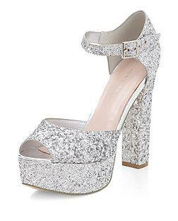 1441aca8d8c Silver Glitter Ankle Strap Platform Block Heels