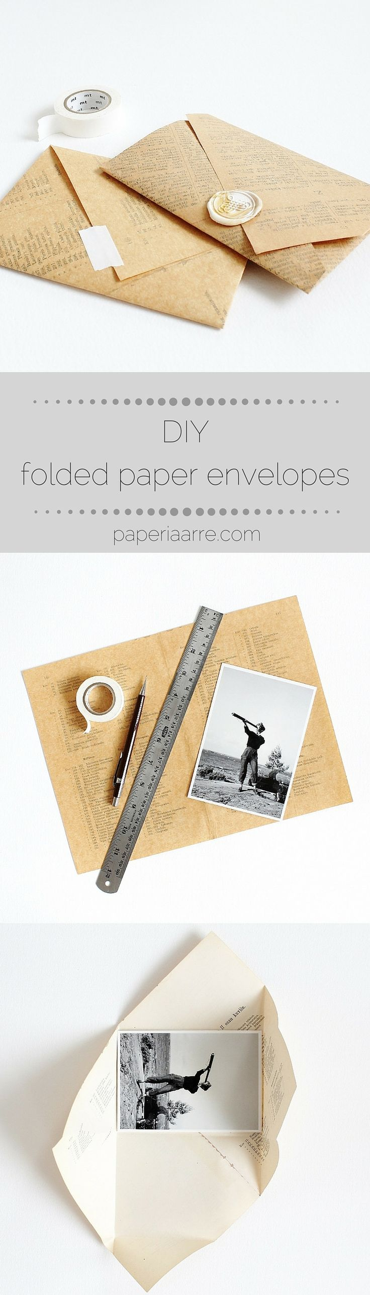DIY: super simple folded envelope - tutorial by Kaija  ....reépinglé par Maurie Daboux ❥•*`*•❥… Rantakari / paperiaarre.com