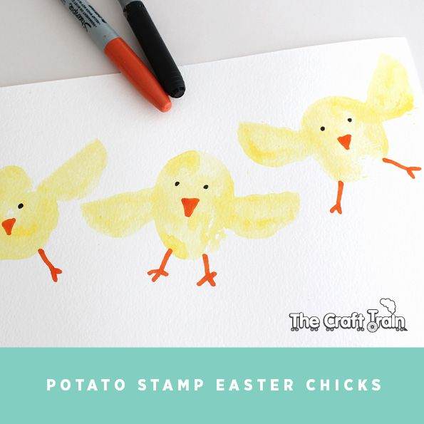 Potato Stamp Easter Chicks