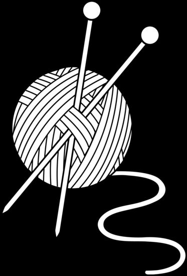 Yarn Clipart Black And White Black and White Knitti...