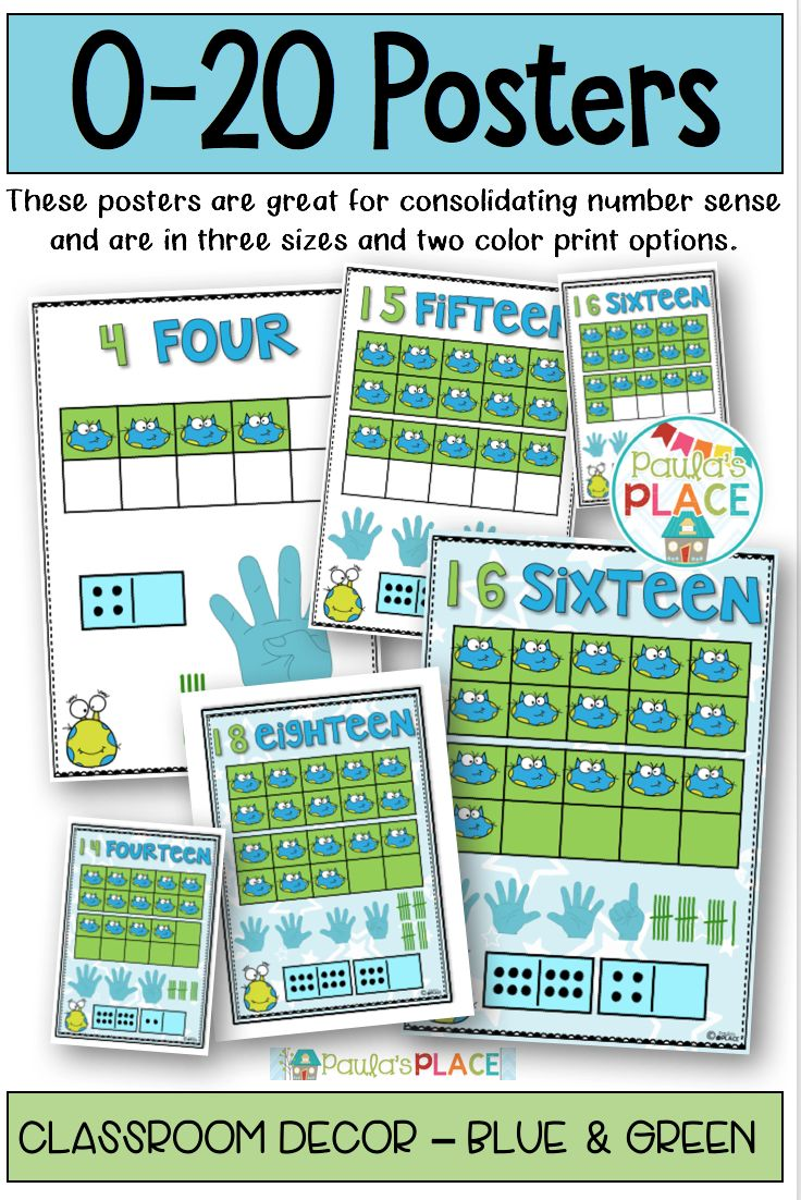 Young mathematicians need to see numbers around their environment. These posters provide visual clues with ten frames, tallies, dominoes and fingers. These 0-20 Posters (Blue and Green Theme) are great for displaying in your room.