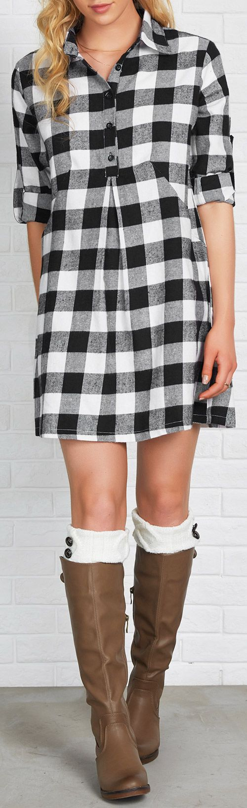 Enjoy 10% Off for pre-order! $24.99 Only with Free shipping as well! This cute plaid shirt dress features button up&lapel collar design! Take this casual work clothes at Cupshe.com
