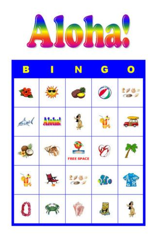 Aloha/Tropical/Luau Birthday Party Game Bingo Cards ...