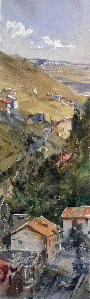 Peto Poghosyan - Height, 12x36 cm, watercolor on paper, 2013