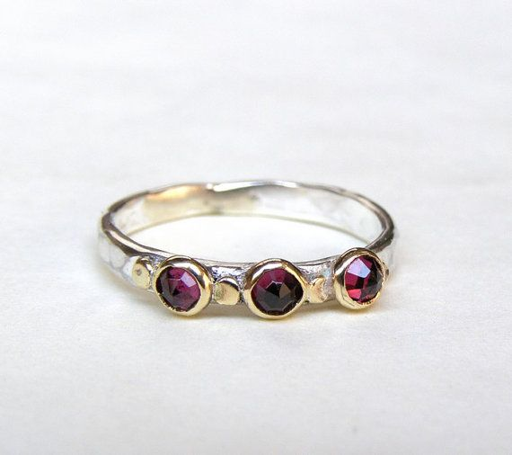 Red Garnet Ring  Gold and Silver MADE TO ORDER by OritNaar on Etsy, $92.00