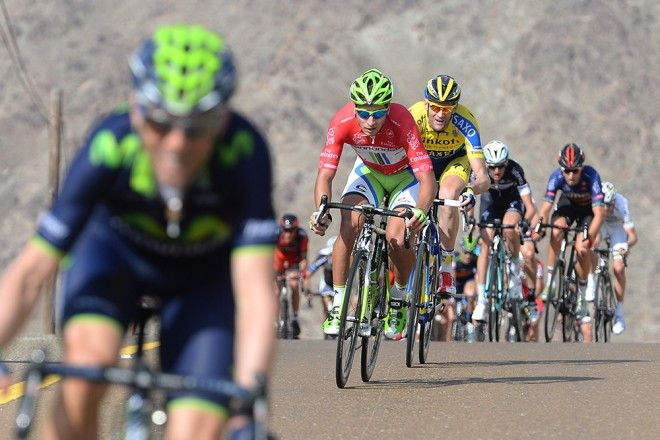 Gallery: 2014 Dubai Tour, stage 3 - VeloNews.com - Alejandro Valverde, the hunted. Peter Sagan chased down a dangerous move by the Spaniard on Friday, but would ultimately fall short of the stage win. Photo: Tim De Waele   TDWsport.com