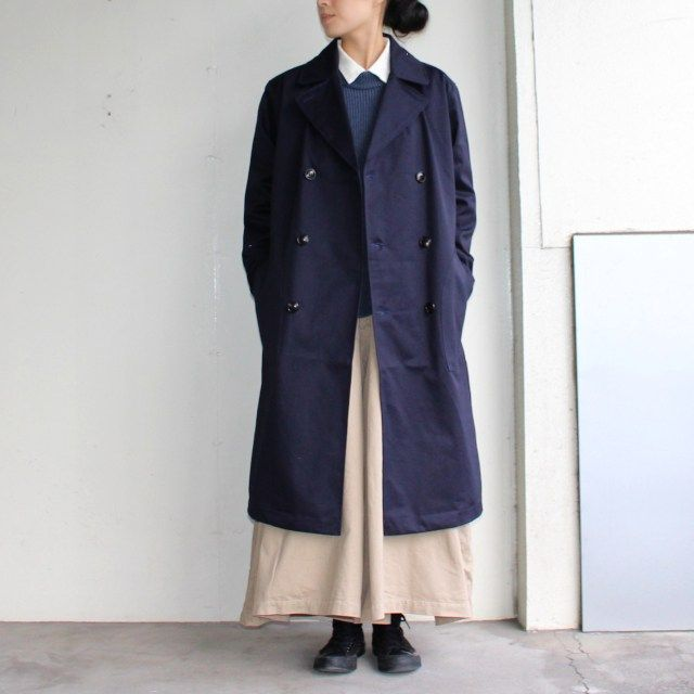 UpscapeAudience ベンタイルロングトレンチコート AUD2848 (NAVY) | C.COUNTLY | シーカウントリー