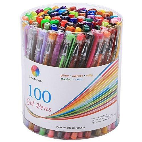 Smart Color Art - 100 Colors Gel Pen Set - Perfect for Coloring Books