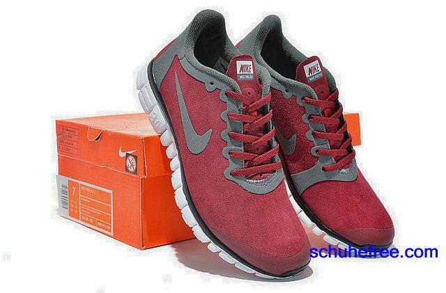 Herren Nike Free 3.0 V2 Anti -Pelz-Schuhe Wine Rot Grau