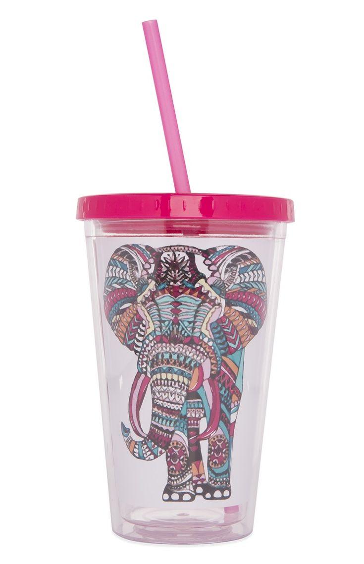 Primark vaso con pajita y elefante estampado compras - Tarro con pajita ...