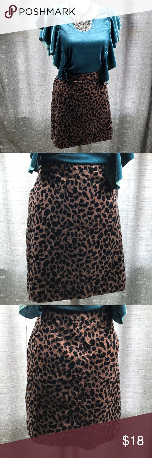 "NWT Ann Taylor Loft Leopard Print Skirt Velvet like material with brown and black leopard print. Zipper in the back. Length 17"" Hips 20"" waist 16"" LOFT Skirts Mini"