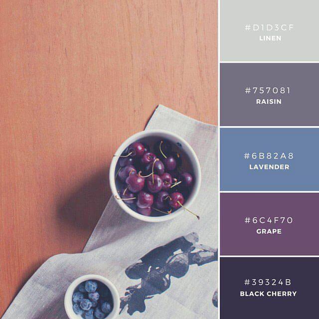 ◆Afternoon Delights 通常、冷たい印象を与える青色に、温かみのある色使いを組み合わせた(LinenとRaisin)、なごんだ雰囲気の配色。インテリアや家具ブランドなど、モダンなイメージを印象するときに。