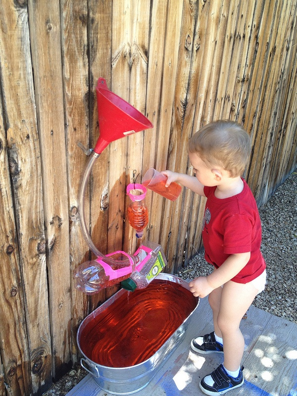 Water play: may be fun to do with glass bottles, copper pipes and other longer lasting things