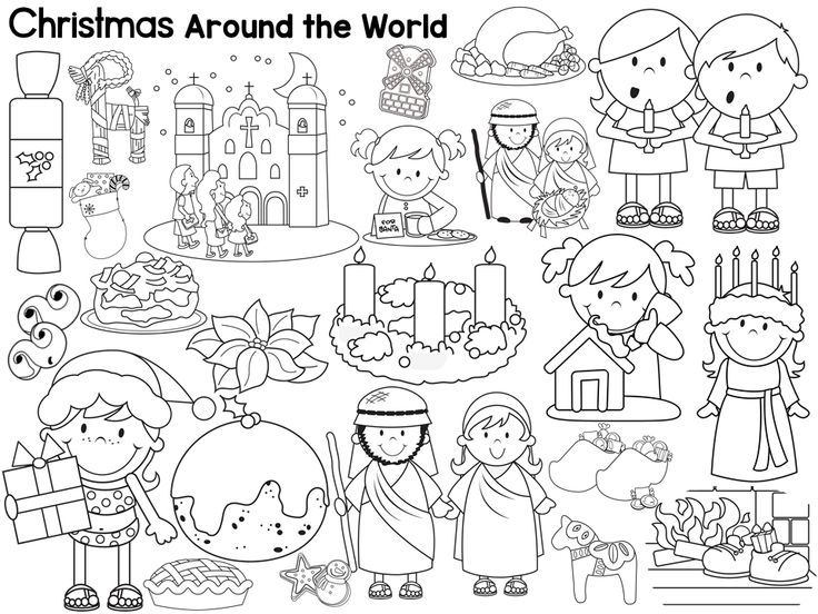 Free Christmas Around the Works coloring pages and book list (x60).