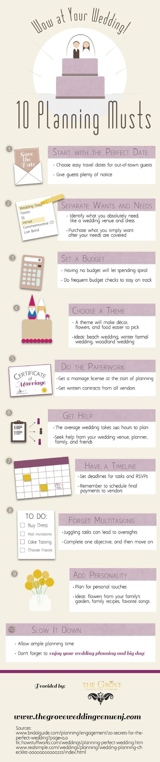 When budgeting for a wedding, start with must-have items like the dress and the wedding venue. This keeps the planning on track and, hopefully, leaves room to include wedding wants. Check out this infographic from a wedding venue in New Jersey to learn more.