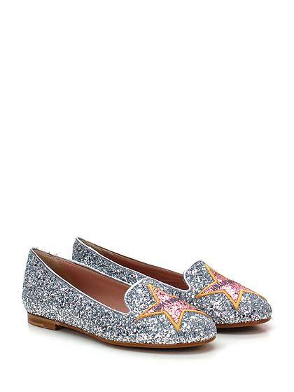 Chiara Ferragni - Scarpa bassa - Donna - Scarpa bassa in glitter con decorazione su puntale e suola in cuoio e gomma. Tacco 10. - ARGENTO