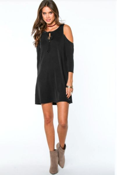 Little Black Dress - This black shift dress with cold shoulder and tie at neckline is EVERYTHING! Its brushed texture makes it look expensive even when it's not. We are obsessed with this dress! The slight a-line cut is so flattering. Small, Medium, Large - $69.00