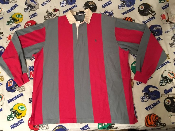 Vintage 90's Polo Ralph Lauren Thick Striped Pink/Blue Gray Rugby Polo Shirt XL | Clothing, Shoes & Accessories, Men's Clothing, Casual Shirts | eBay!