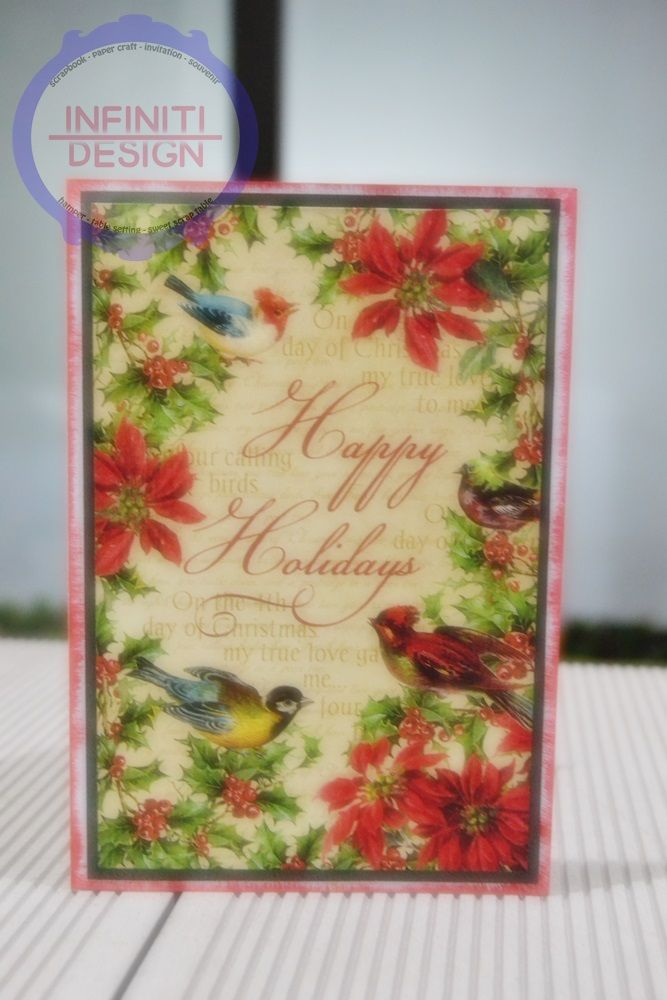 """simple christmas card using G45 paper """"12 days of christmas"""""""
