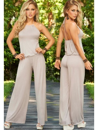 Stylish Brown/Tan Jumpsuit $49.99 .   features a sleeveless slider style choker neckline that ties around the neck for an adjustable fit, mid open back, loose fitting bodice and flowing full-length legs with straight hemline.  #fashion #women #jumpsuit #meinstyle