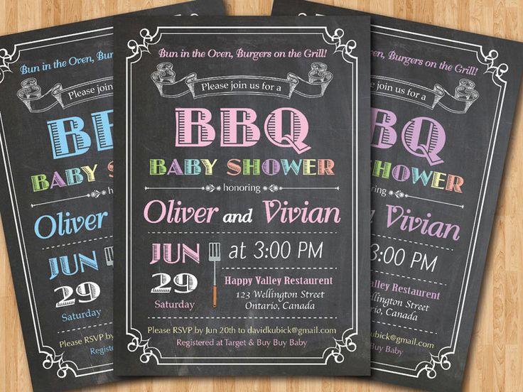 BBQ Baby Shower Invitation. Baby-Q Shower Invitation. Chalkboard Co-ed Baby Shower Invite. Babyque Bbq Boy or Gril. Printable digital DIY. by arthomer on Etsy https://www.etsy.com/listing/234467254/bbq-baby-shower-invitation-baby-q-shower