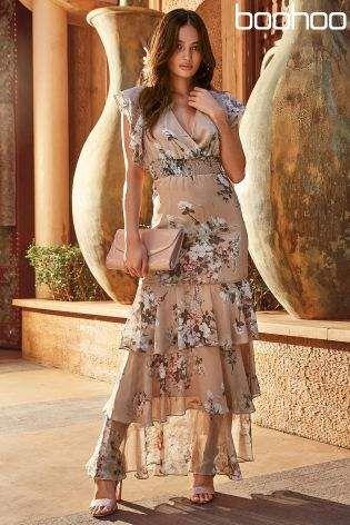 5bf735139db4 Womens Boohoo Floral Tiered Maxi Dress - Nude | Dresses | Dresses ...
