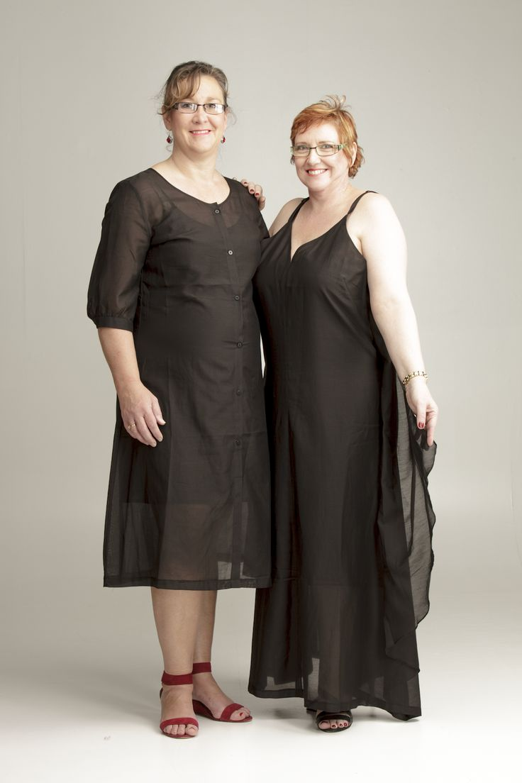 Julie and Sue in The Silky Sleeves and The Maxi Straps (177 and 172 cm tall respectively and both size 20). http://perfectblackdress.com.au