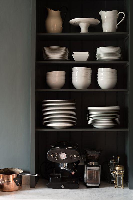 white ceramic dishware in london shaker kitchen / sfgirlbybay