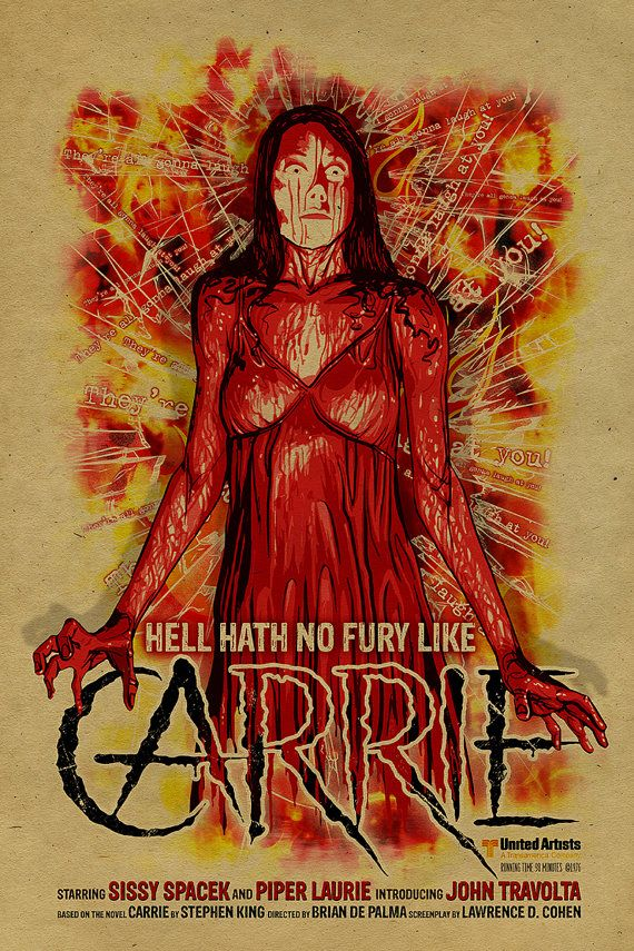 Sissy Spacek Carrie poster. 12x18. Kraft paper. Knoxville. Movie. Stephen King. Art. Print. Printing. Horror. 1976.