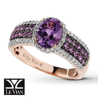 Amethyst Rings | Jared - Le Vian Amethyst Ring 1/4 ct tw Diamonds 14K Strawberry Gold