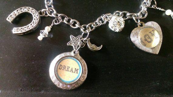 DREAM Locket Fob JOY Charm Bracelet Silver by ArtsyMysticDesigns, $24.99